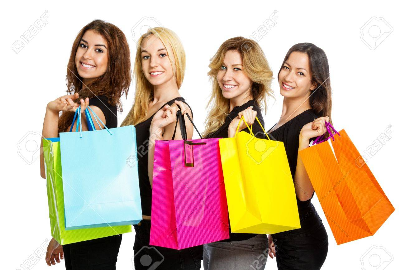Girls With Shopping Bags Over Their Shoulder On White Background ...