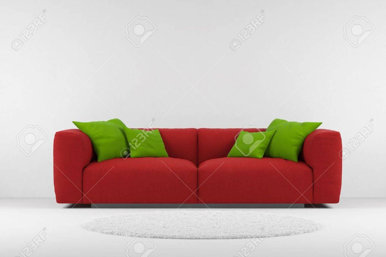 Rote Couch Mit Teppich Und Kissen Grün Lizenzfreie Fotos Bilder Und