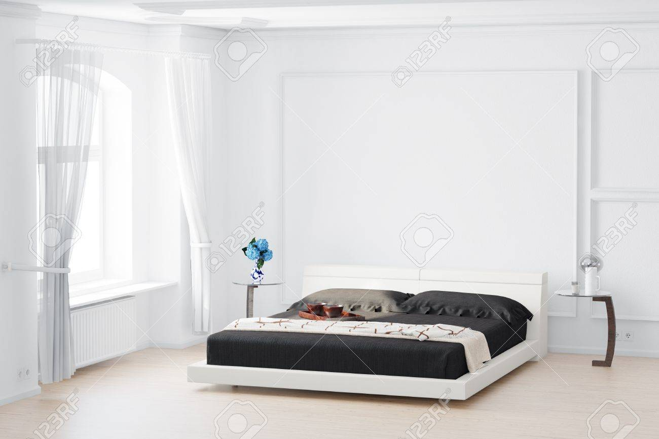 Beedroom with curtain and bed flowers on table - 20588302