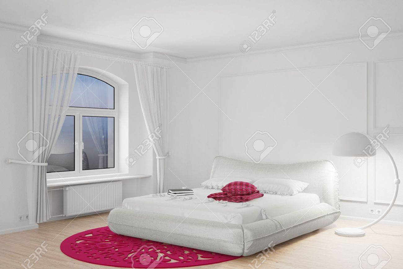 Bedroom in the dark with bright standing lamp Stock Photo - 20588304