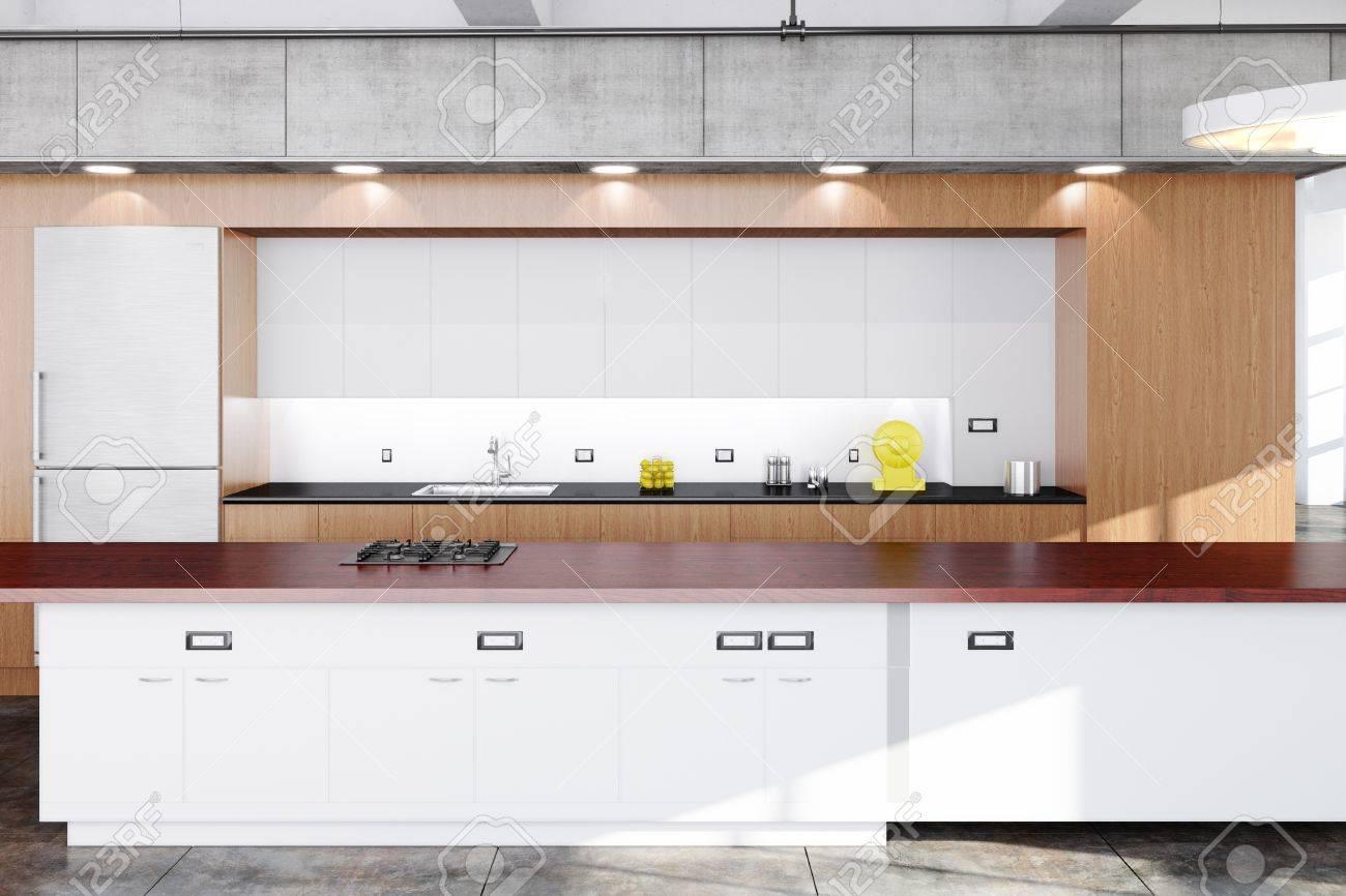 Moderne Kuche Mit Holz Beton Und Weisse Tafeln Lizenzfreie Fotos