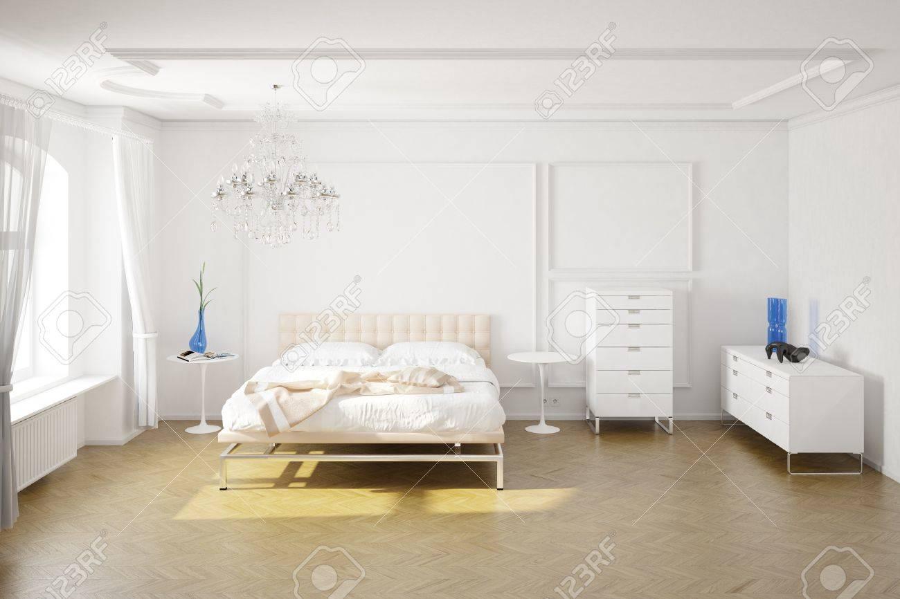 Chambre à coucher moderne avec placards et décorations vue centrale