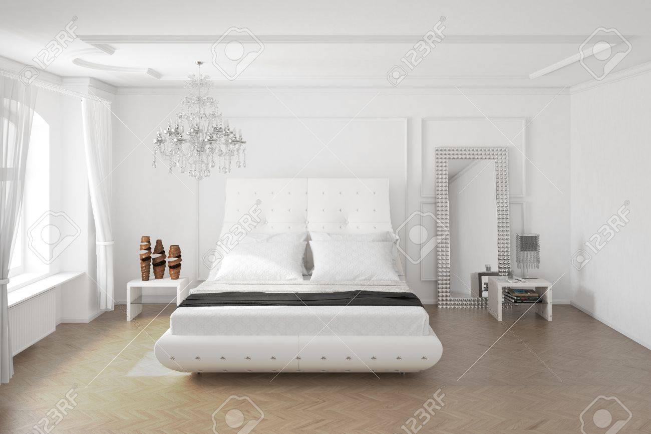 Chambre à Coucher Moderne Avec Miroir Et La Décoration Vue Centrale ...