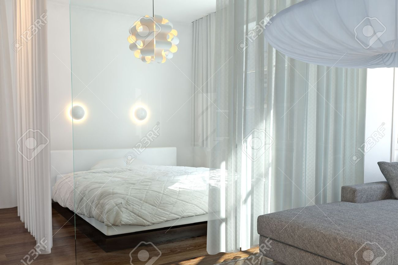 Modern Bedroom With Wall Of Glass And White Curtains Stock Photo ...