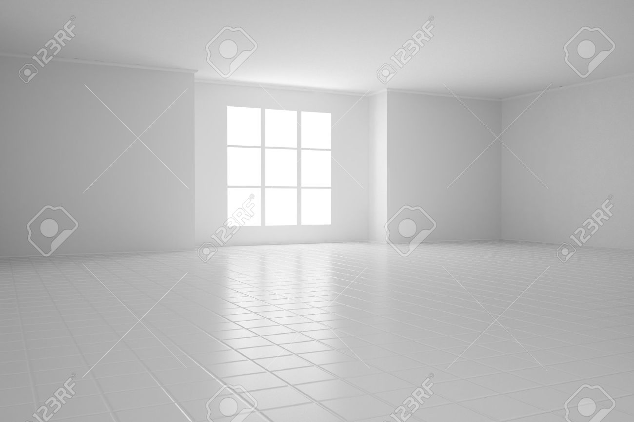 Empty white room with square windows and tiled floor - 21551661