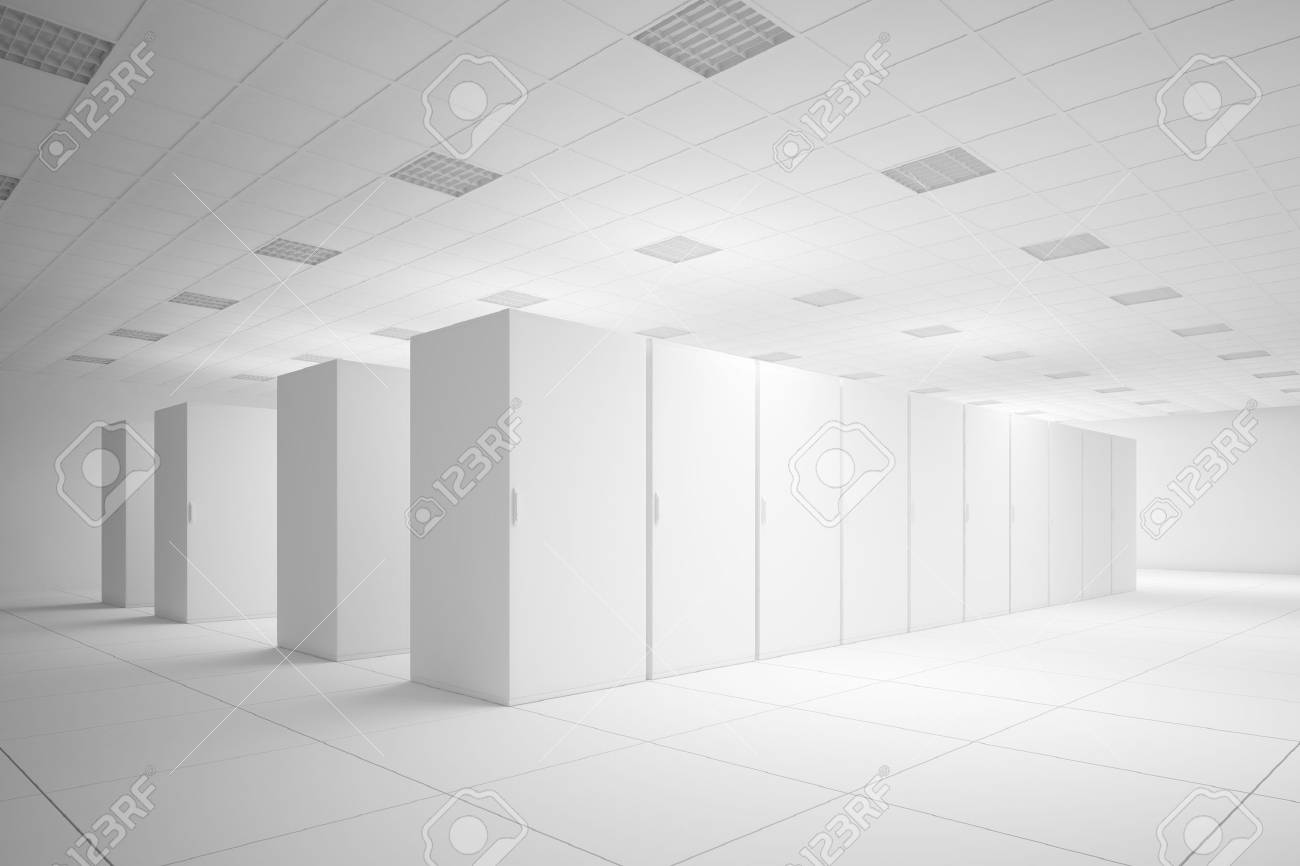 White server room with no texture for layouts - 24193486