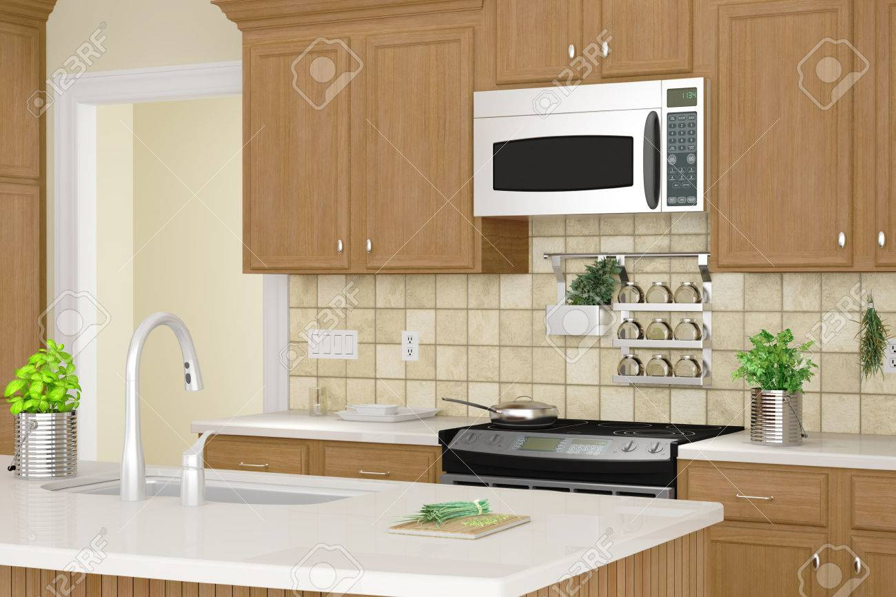Kitchen interior closeup with herbs and dishes - 22674724