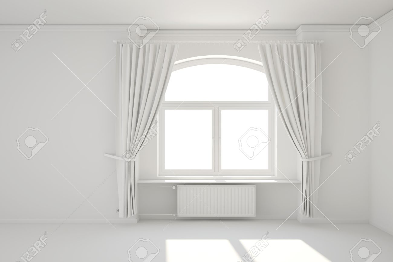 Empty White Room With Window And Curtain Minimal Template Stock ...
