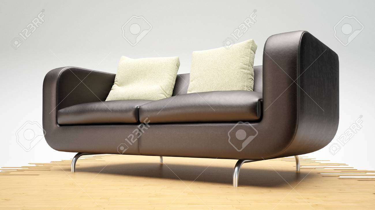 Picture of: Modern Leather Sofa On Wooden Planks And White Cushions Stock Photo Picture And Royalty Free Image Image 24238127