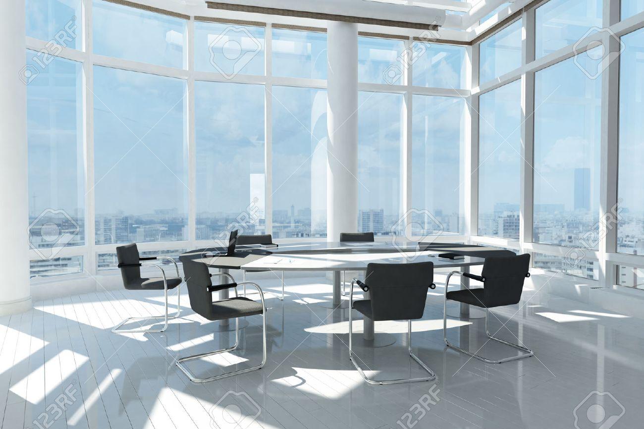 Bureau moderne avec de nombreuses fenêtres et paysage de la ville
