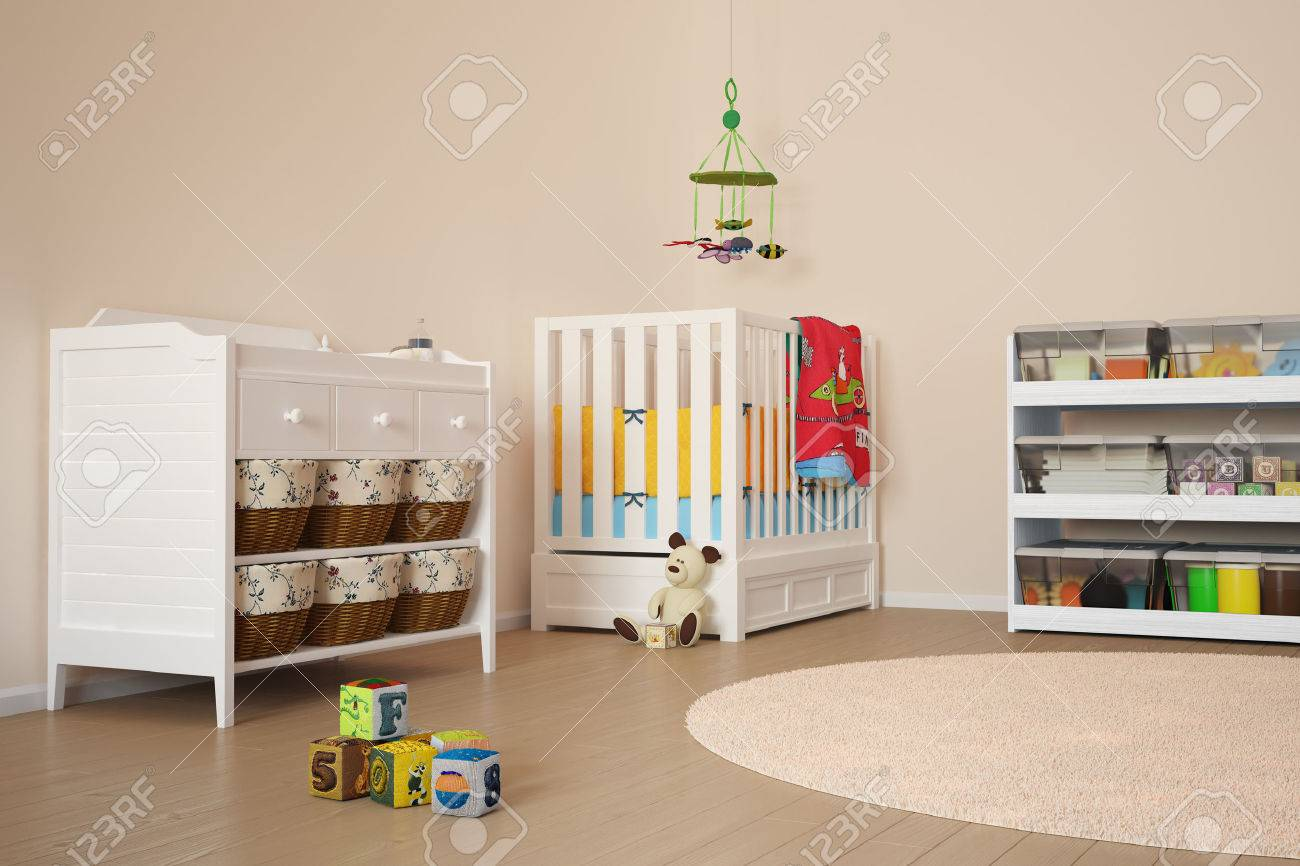 Children room with toys and small bed - 24370644