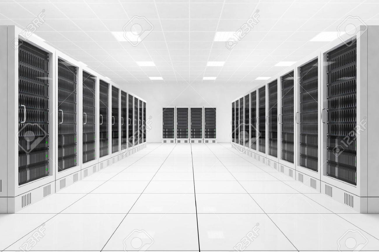 Datacenter with two rows of computers in white room - 24921220