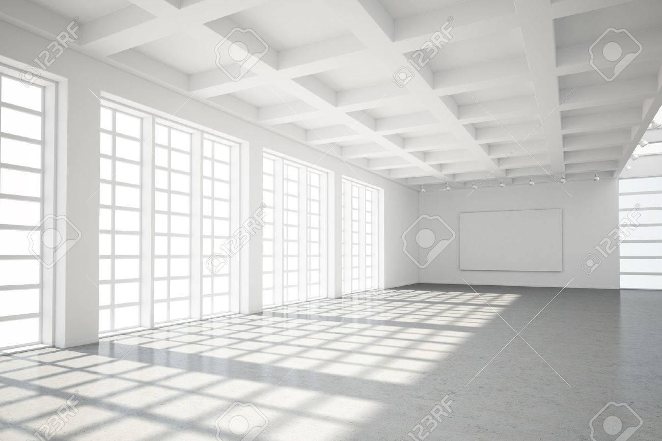 Empty modern loft with concrete floor and big Windows - 25087489