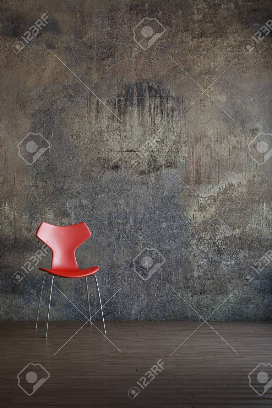 Red chair in old environment art style - 26040915