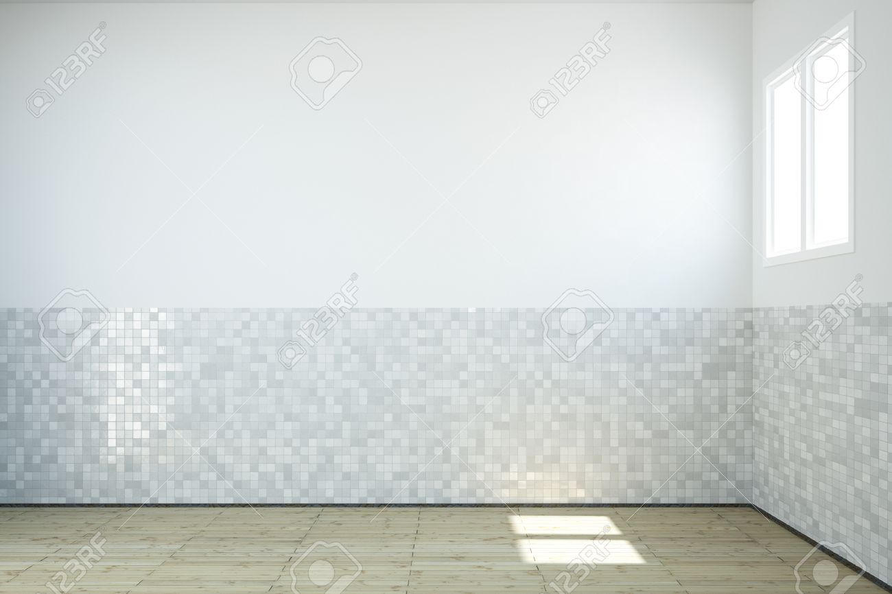 Empty Bathroom With Windows And Tiles On Wall And Wooden Floor Stock ...