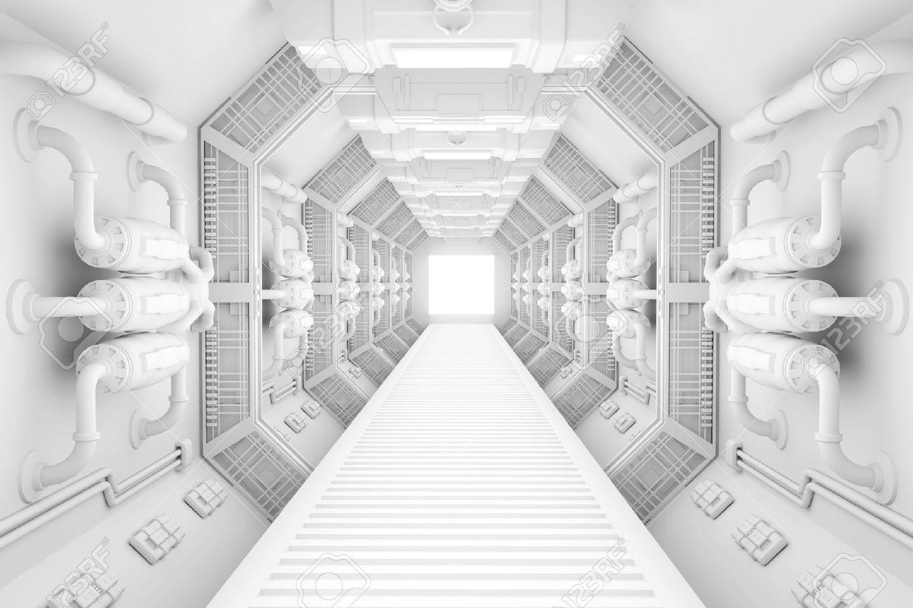 Spaceship interior bright white center view with floor - 27898135