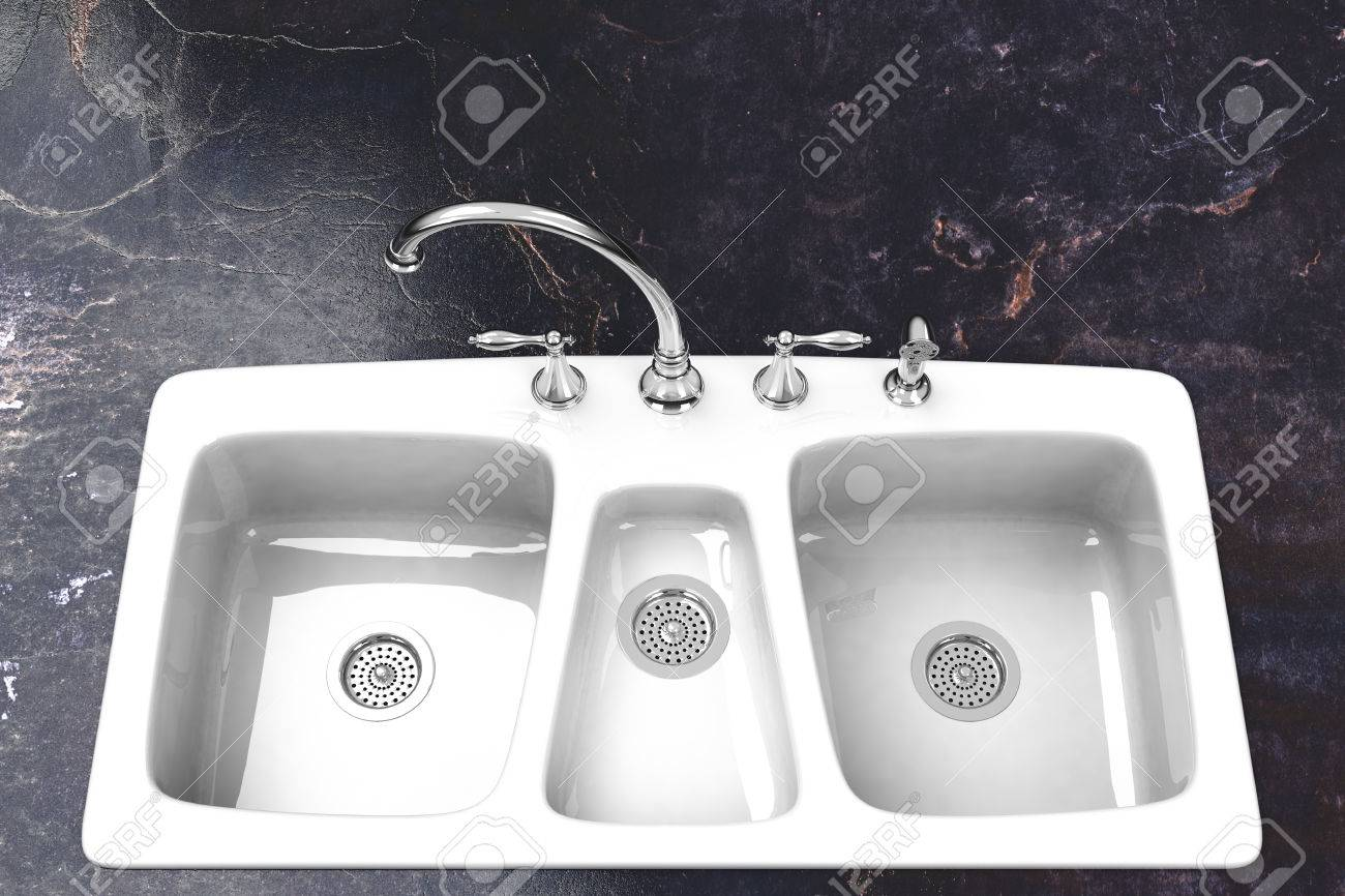 Kitchen Sink With Marble Counter And Chrome Fixture Stock Photo ...