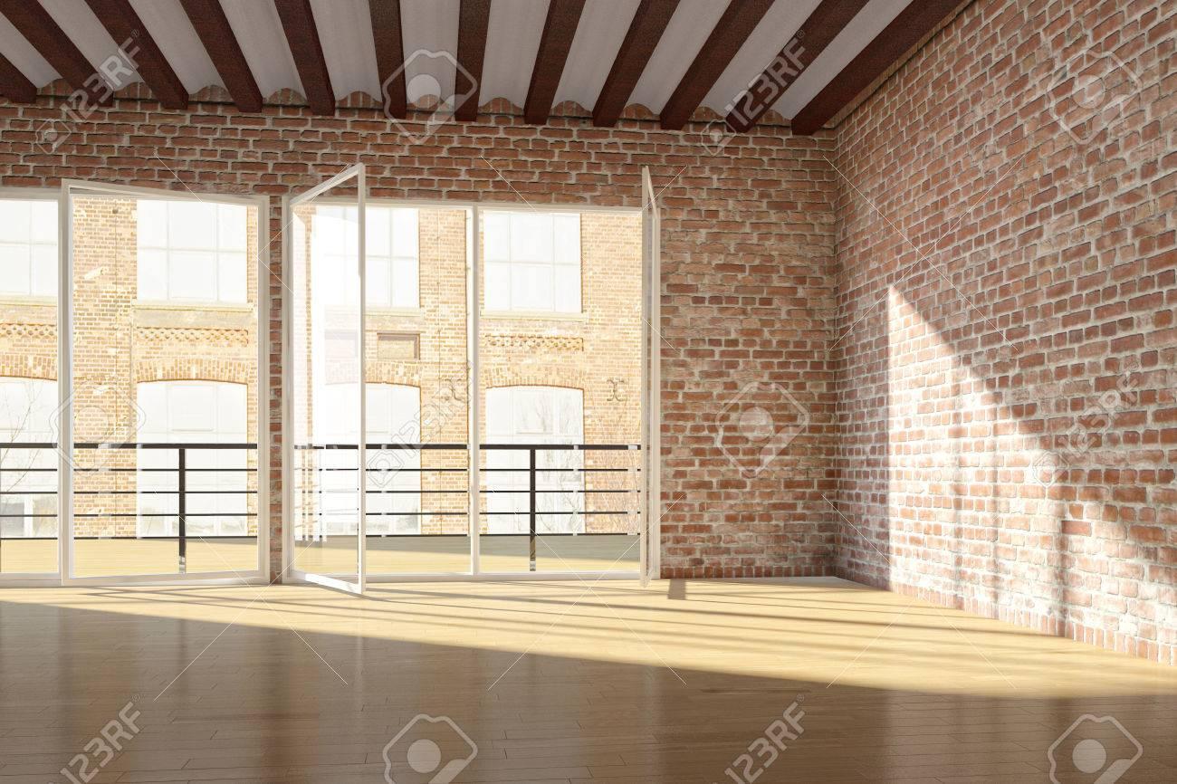 Lege zolder met rode bakstenen muur en open vensters royalty vrije ...