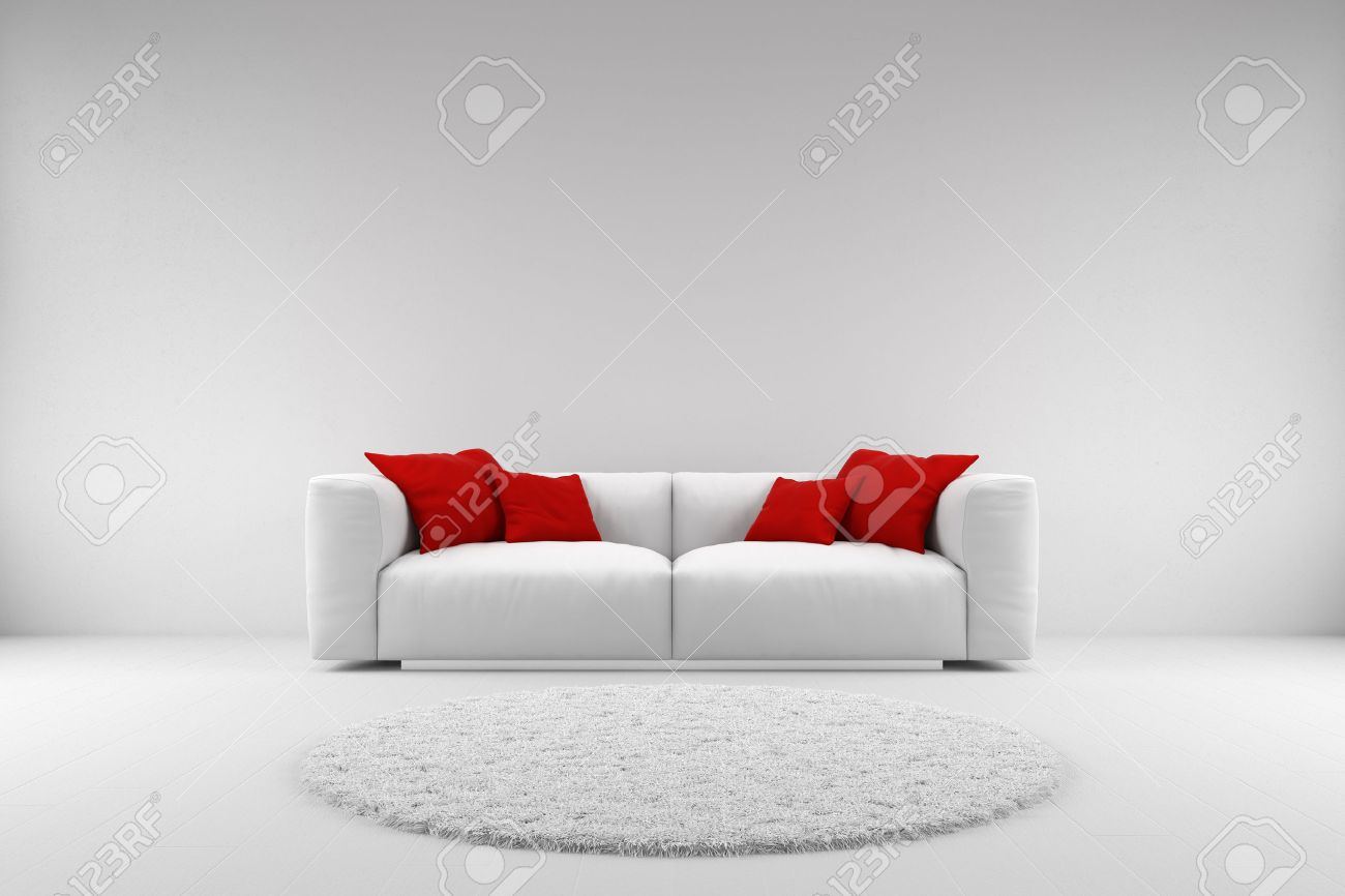 White Couch With Red Pillows And Carpet With Copy Space Stock Photo, Picture And Royalty Free Image. Image 30533043.