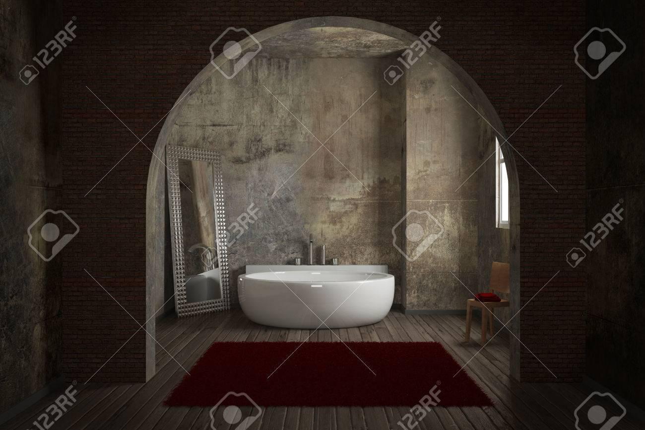 Vintage Badezimmer Mit Ziegelmauer Und Großen Spiegel Lizenzfreie Bilder    31237986