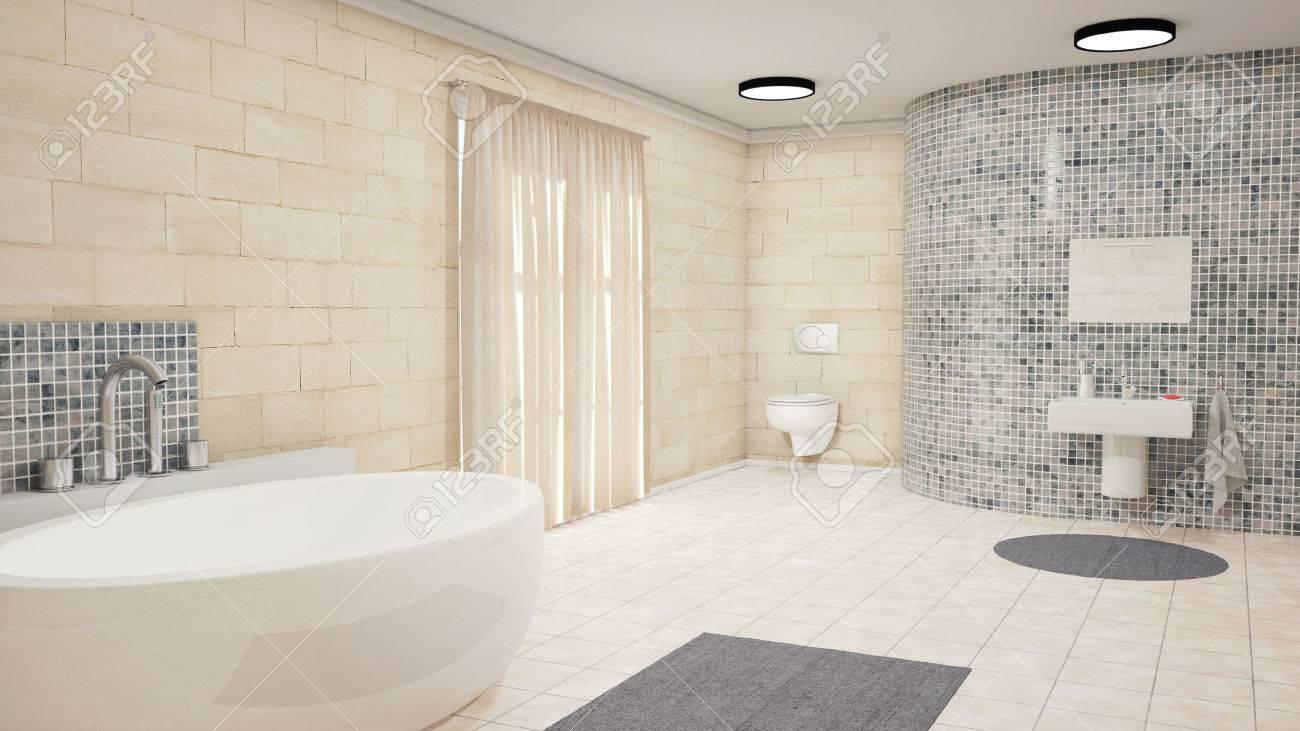 Badezimmer Mit Badewanne Und Vorhänge Teppich Lizenzfreie Fotos ...