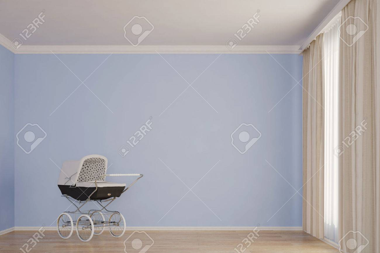 Empty Kids Room With Stroller Blue Wall Stock Photo