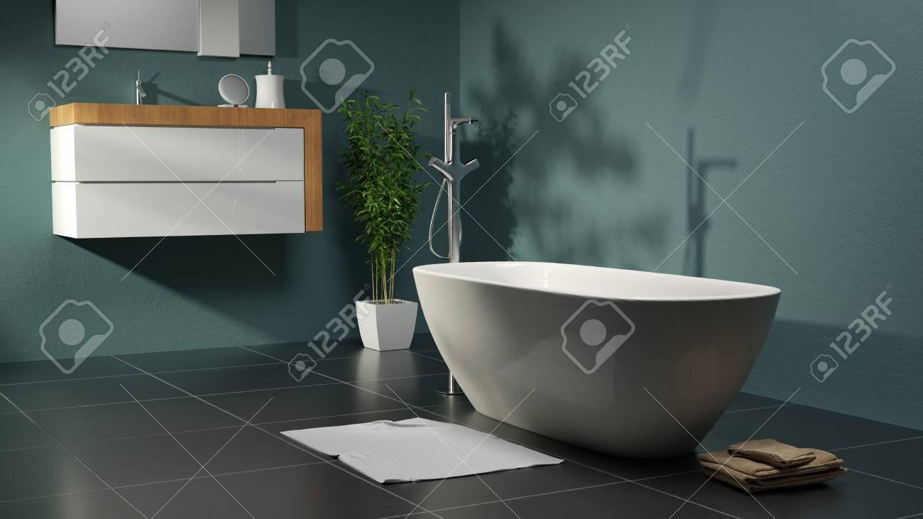 Grünes Badezimmer Mit Pflanze Und Becken Lizenzfreie Fotos, Bilder ...