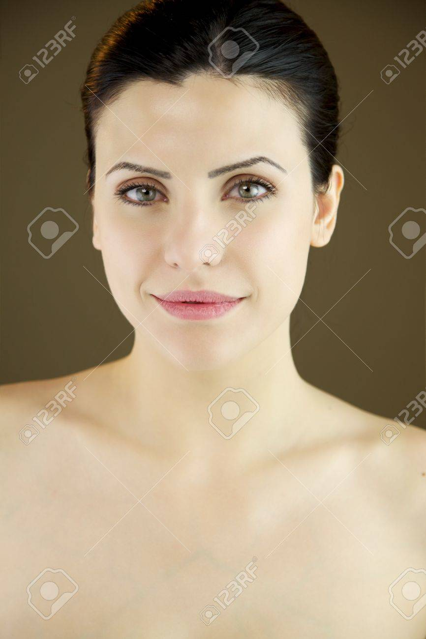 Female Model With Black Hair And Green Eyes With Pure Skin Stock
