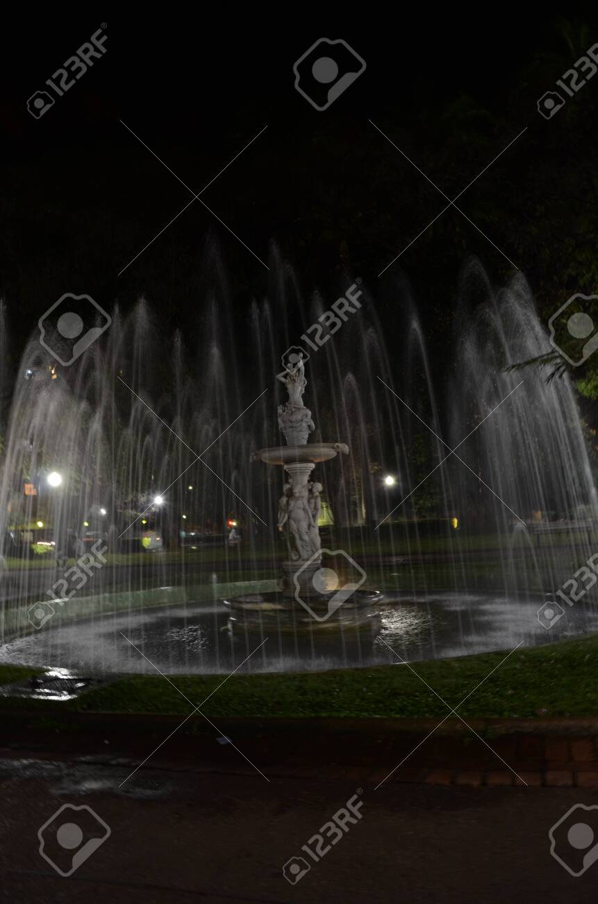 Praça da Liberdade (translated as Liberty Square) at Belo Horizonte in the state of Minas Gerais in Brazil at night with water fountain on - 151517266