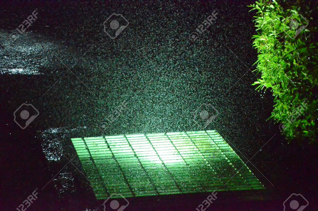 Water drops on air with light and a bush at night - 151517292