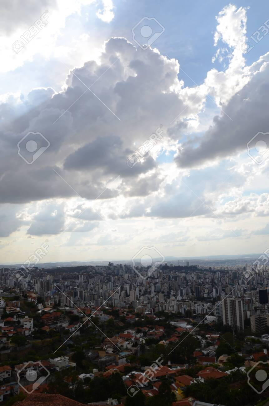 Landscape of the city of Belo Horizonte, State of Minas Gerais, Brazil at a sunny day with blue sky at 3pm in the spring - 151517193