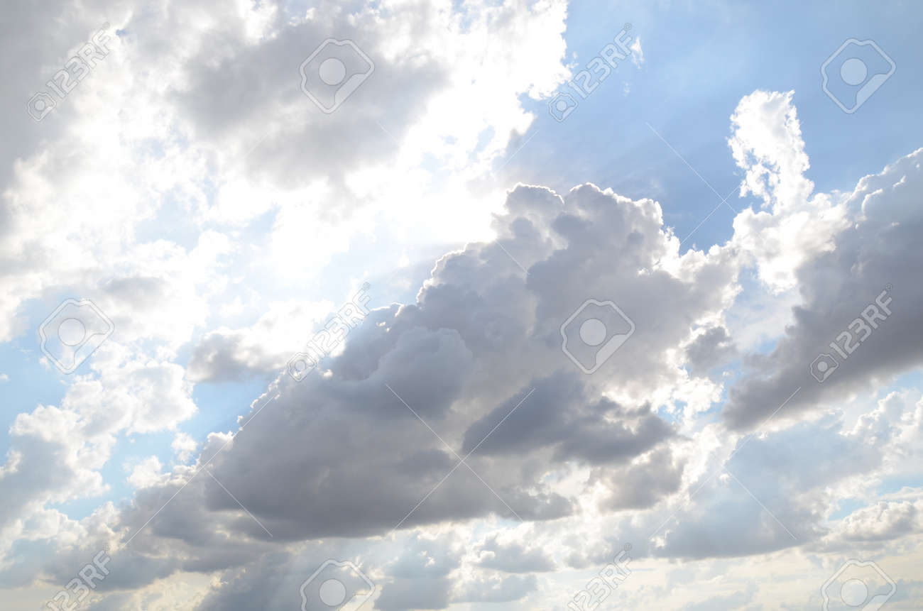 White clouds cumulus floating on blue sky with sunlights on background - 151516951