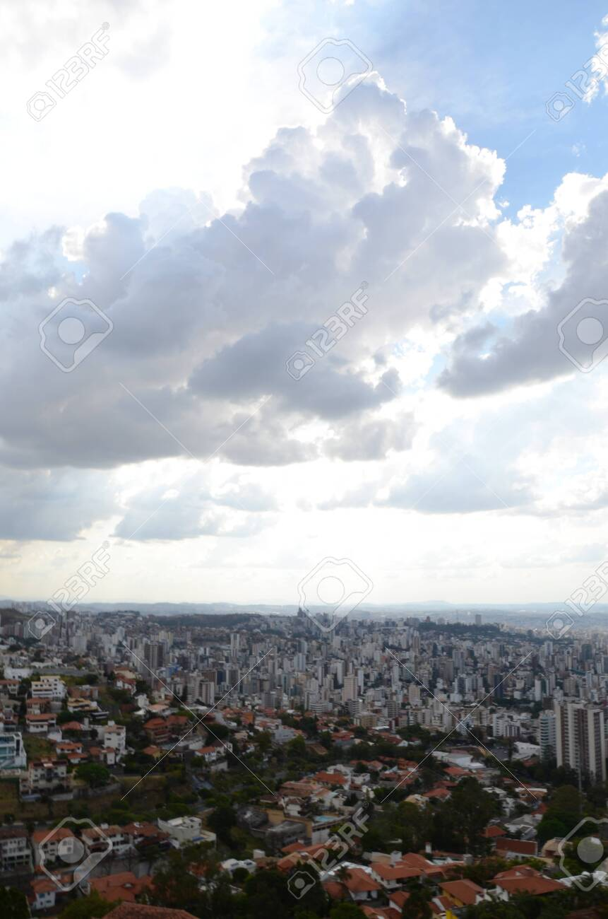 Landscape of the city of Belo Horizonte, State of Minas Gerais, Brazil at a sunny day with blue sky at 3pm in the spring - 151517295