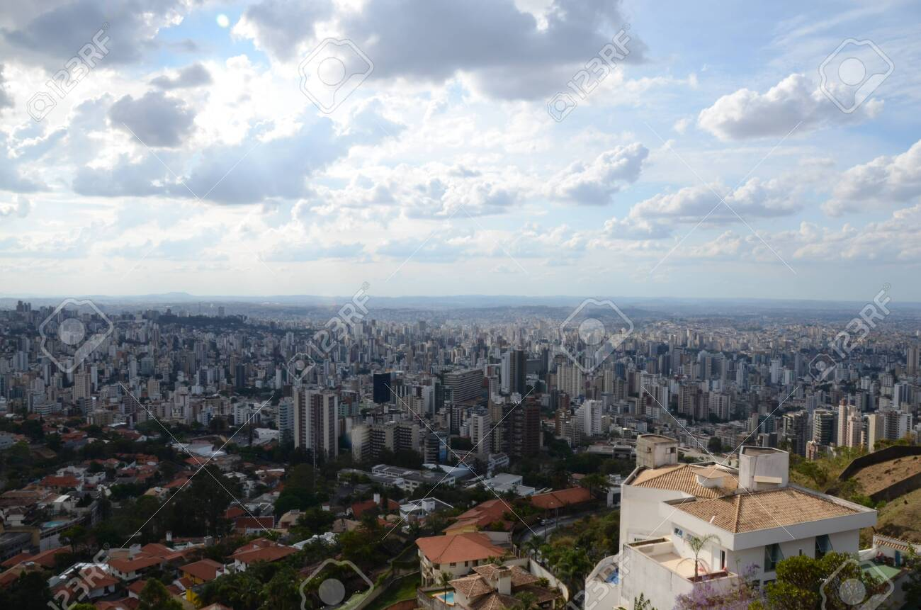 Landscape of the city of Belo Horizonte, State of Minas Gerais, Brazil at a sunny day with blue sky at 3pm in the spring - 151517334