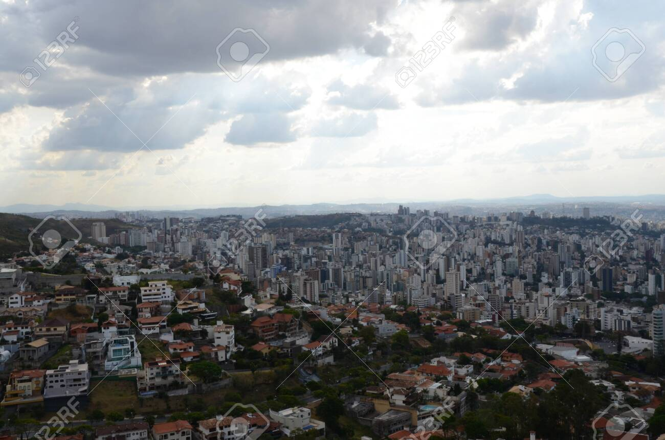 Landscape of the city of Belo Horizonte, State of Minas Gerais, Brazil at a sunny day with blue sky at 3pm in the spring - 151517326