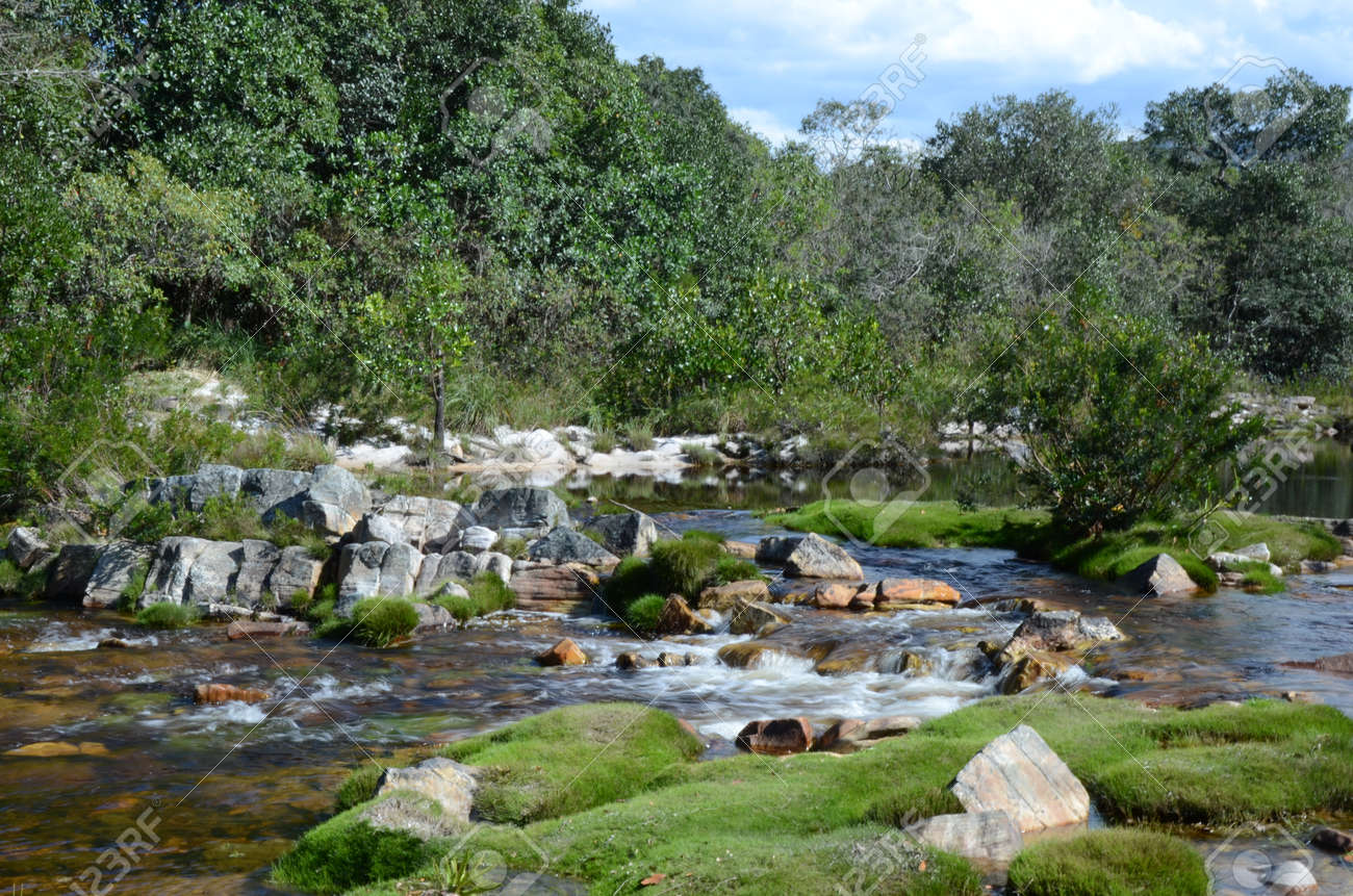 River and Waterfall at Rio Preto State Park in Minas Gerais called Prainha (translate to little beach) - 151628924