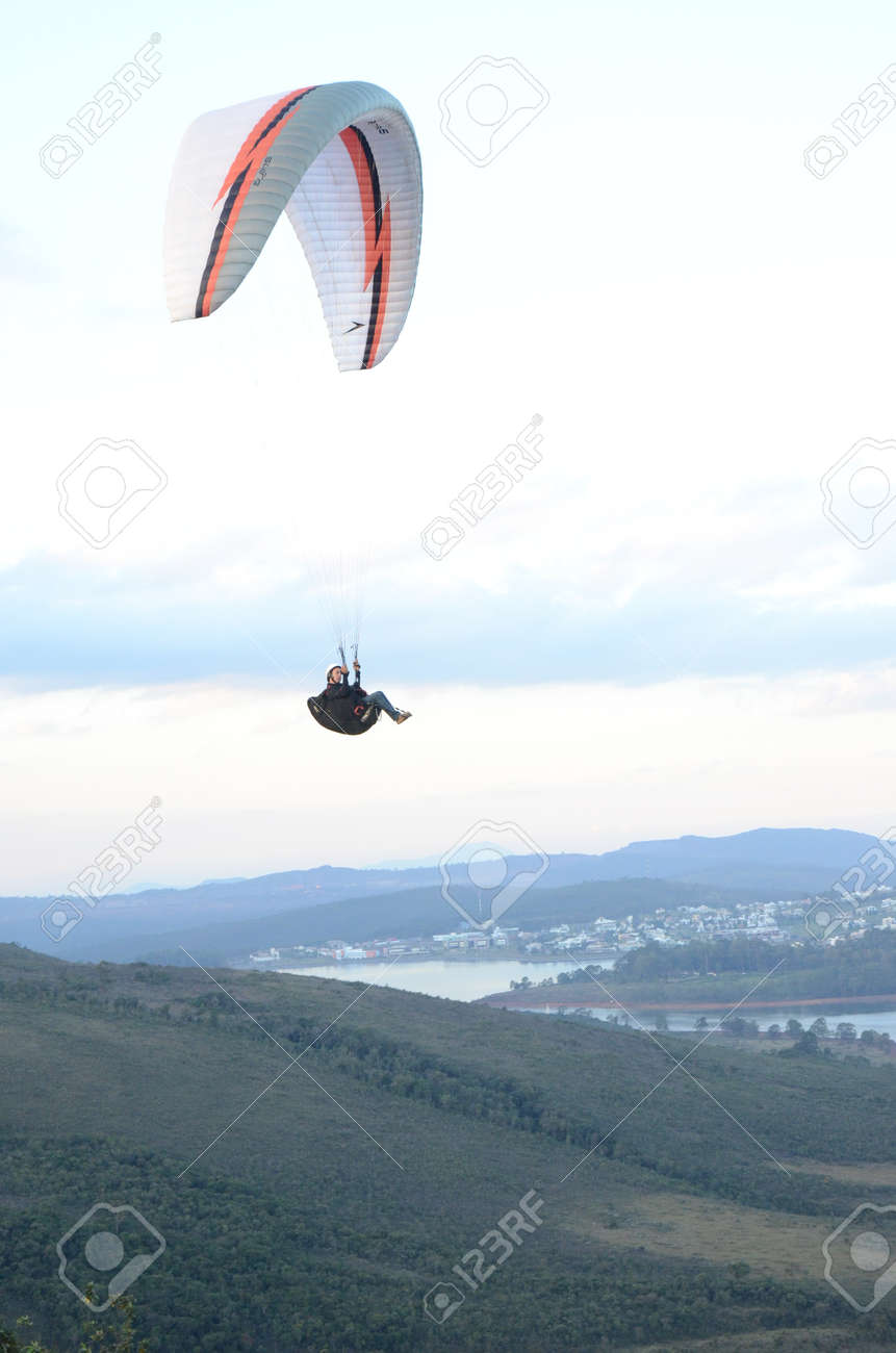 Paragliding at sun set in Topo do Mundo (translated to Top of the World) in Minas Gerais - 151596712
