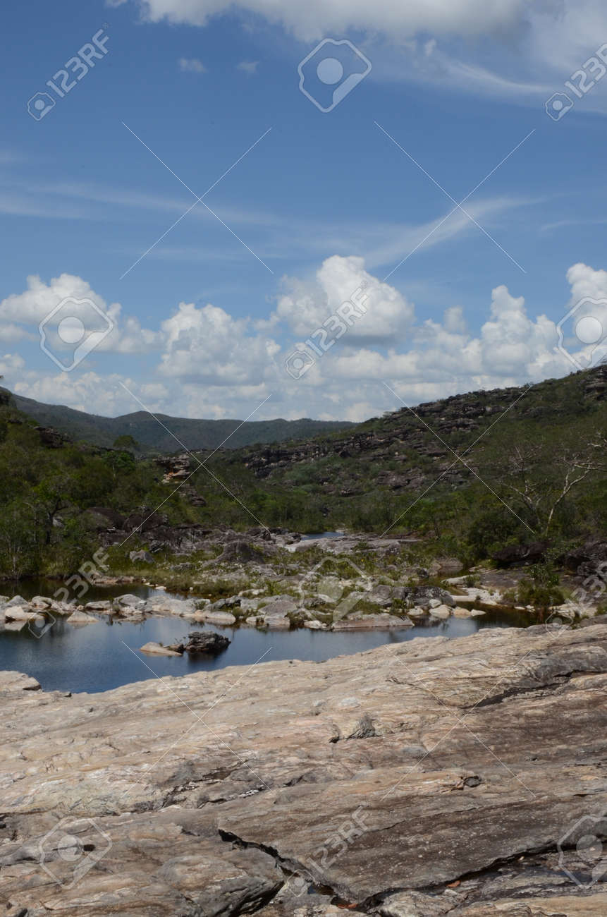 River and view in Rio Preto State Park in Minas Gerais at Cachoeira da Semper-Viva (translate to Always-Alive Waterfall, with is the popular name of Actinocephalus polyanthus) - 151845276