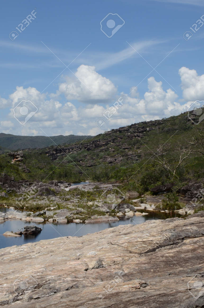 River and view in Rio Preto State Park in Minas Gerais at Cachoeira da Semper-Viva (translate to Always-Alive Waterfall, with is the popular name of Actinocephalus polyanthus) - 151845290