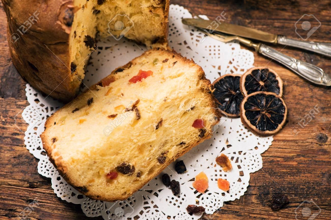 Panettone Weihnachten Italienische Kuchen Lizenzfreie Fotos