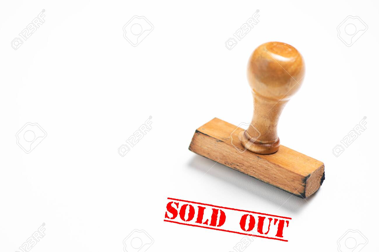 Rubber stamp with sold out sign on white - 122913624