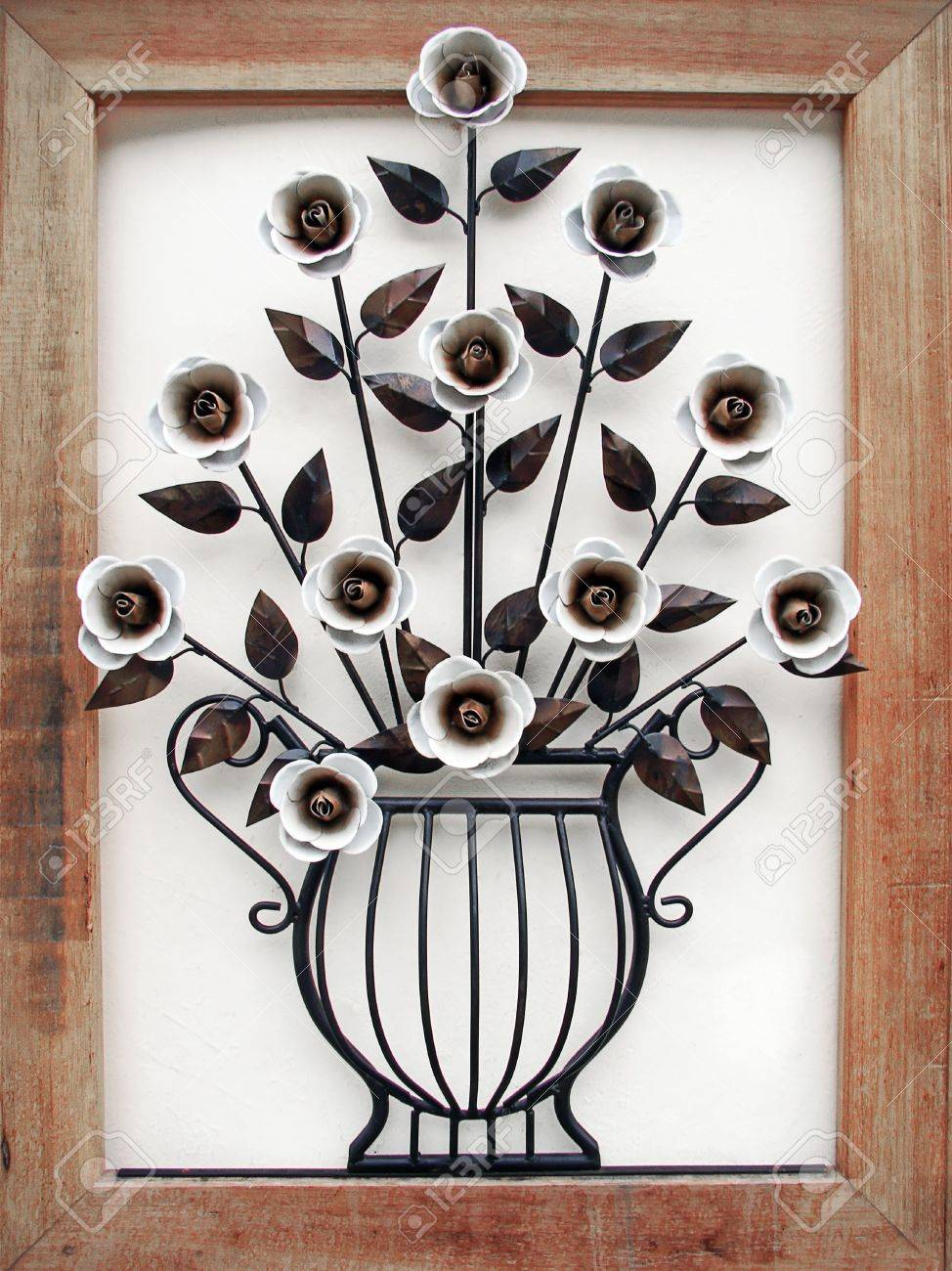 metal made flower and vase with wood frame Stock Photo - 6364932