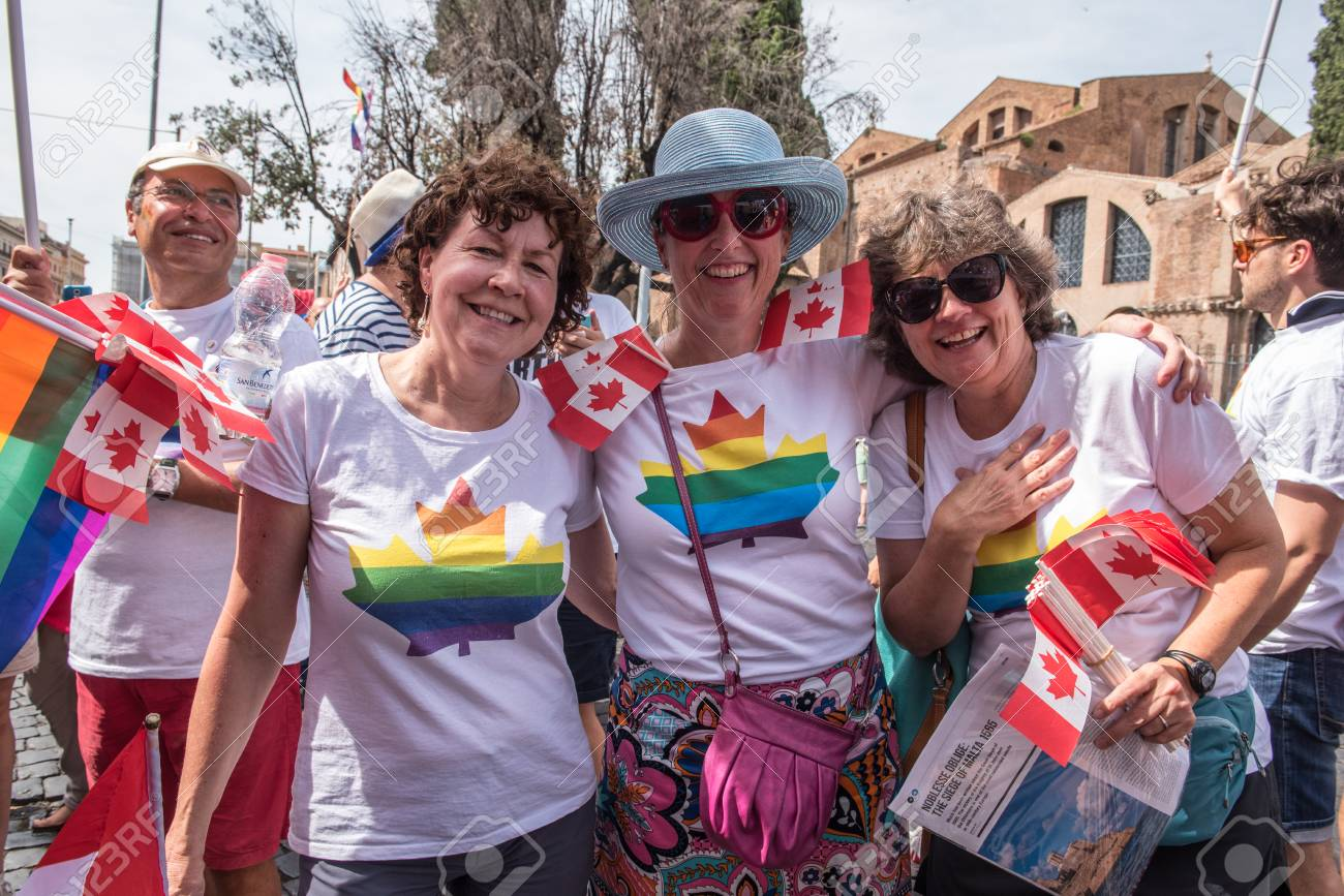 Rome, Italy june 10th 2017  Colorful canadian people on the street