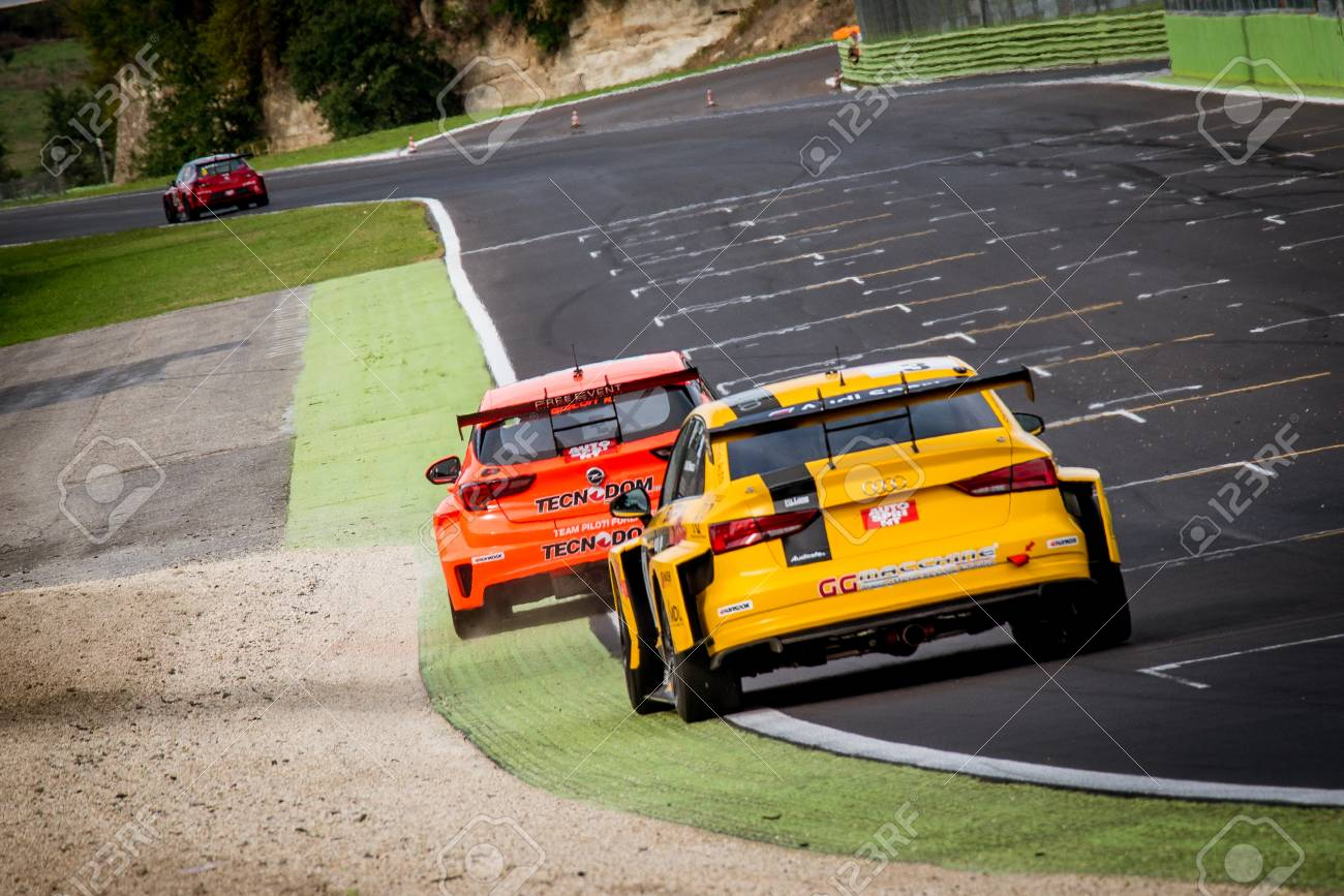 Vallelunga, Italy september 24 2017  Touring Audi rs3 and Opel
