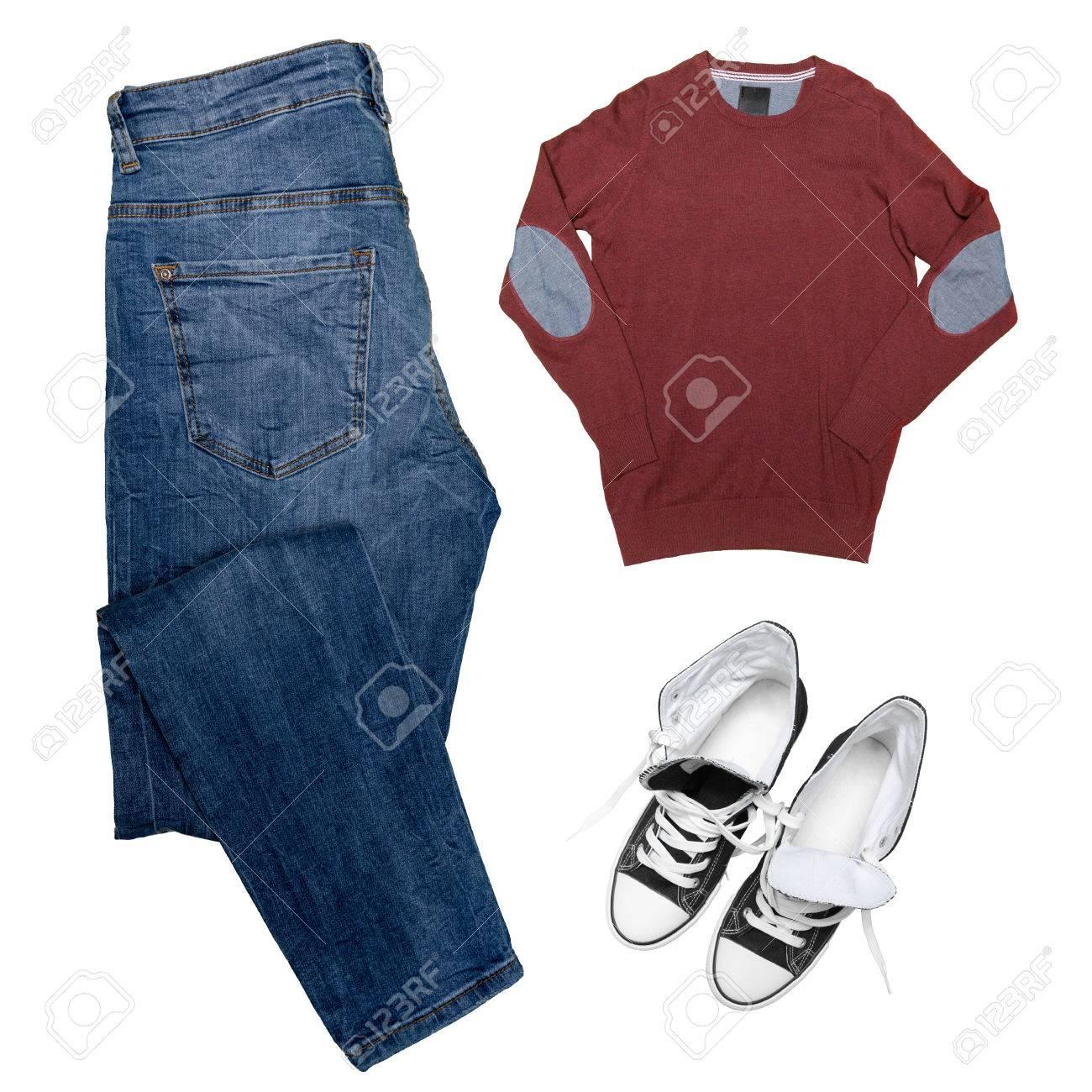 964781f055 Colección de ropa masculina aislados en blanco Foto de archivo - 76851545