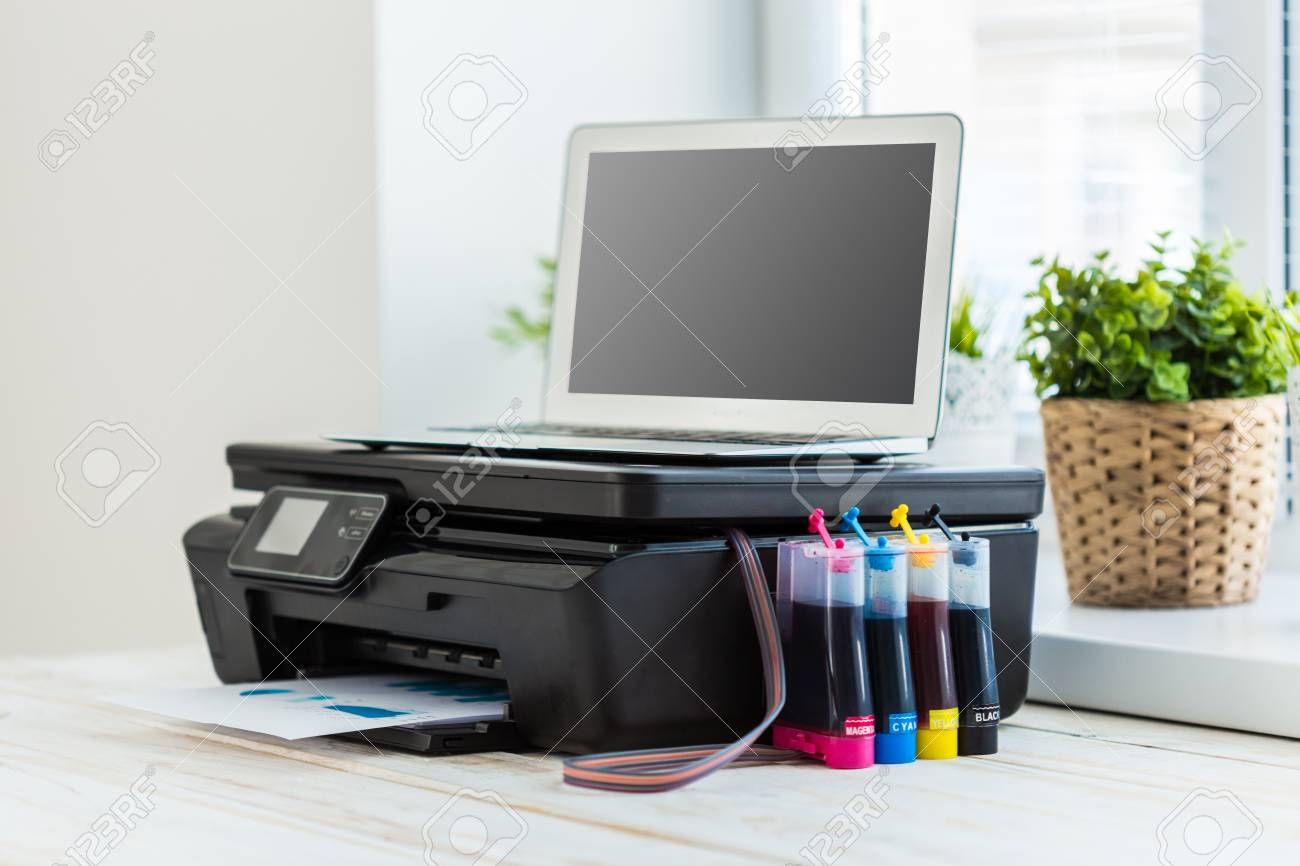 Printer And Computer. Office Table Stock Photo   77317584