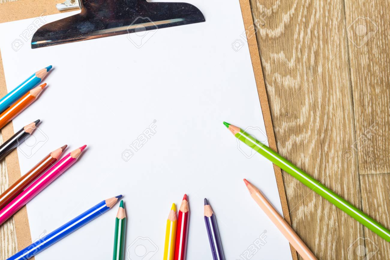 Stock photo various colorful drawing tools mock up