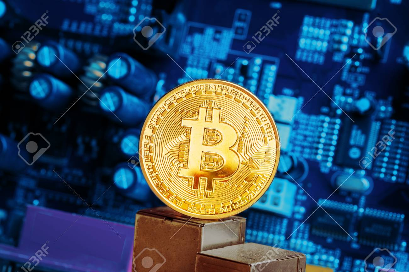Bitcoin and a computer graphic card - 77406865