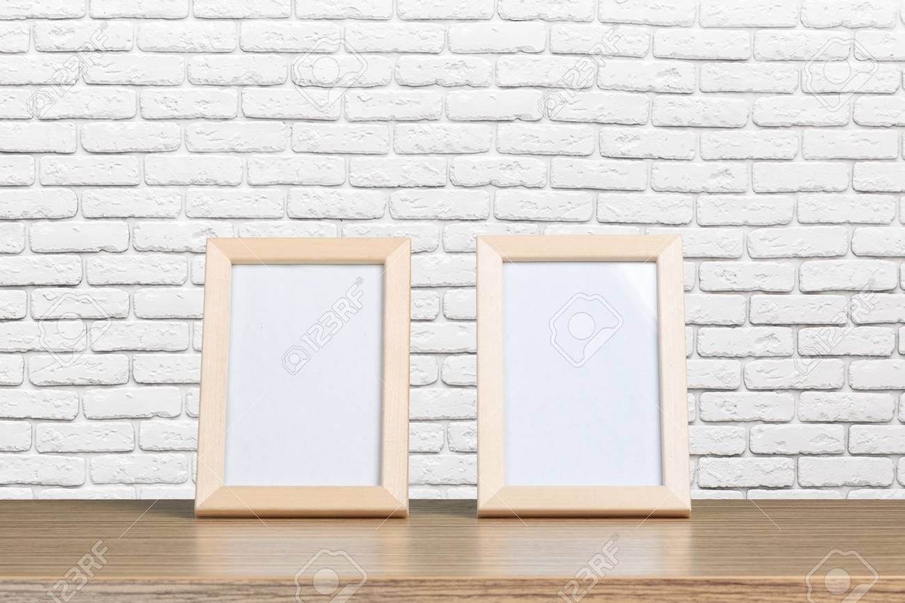 Blank Whiteboard Wood Frame On Wooden Table Stock Photo, Picture And ...