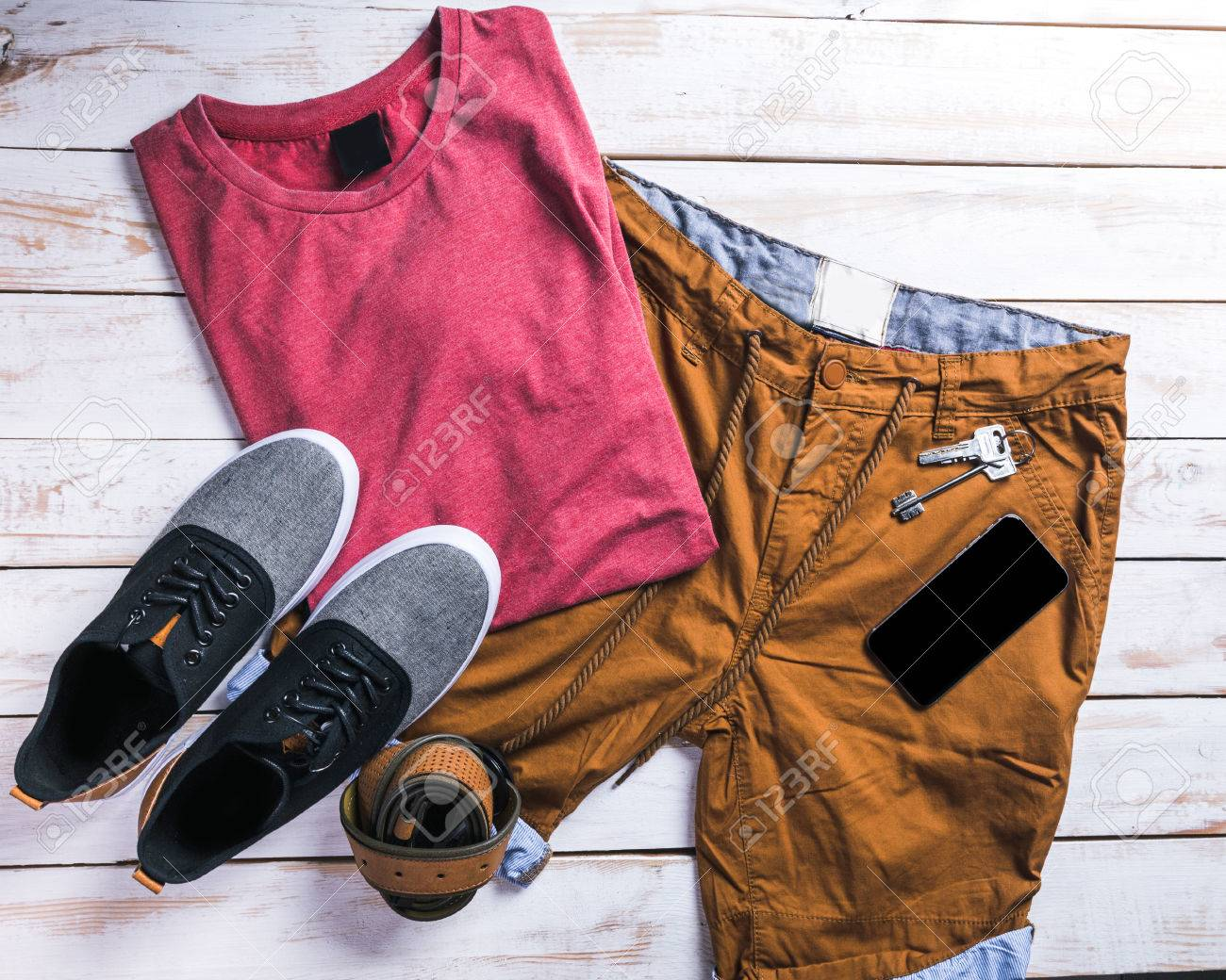 cool fashion casual men outfit on wooden table - 86088411